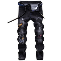 Wholesale little feet jeans for sale – denim European and American style trendy men s trousers men s holes embroidered owls elastic little footed jeans
