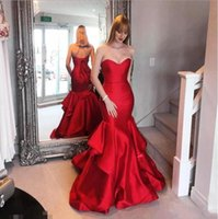 rotes satin korsett kleid großhandel-2019 Red Mermaid Prom Dresses Elegante Schatz Korsett Zurück Lange Abendkleider Junior Günstige Formale Party Pageant Kleider Bodenlangen