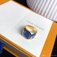 große blaue blumentöpfe großhandel-Designer Herrenringe Luxus Designer Schmuck Damenringe COLORS SIGNET Ringe Blue Emaille Monogram Patterns 2019 Luxury Fashion Accessor