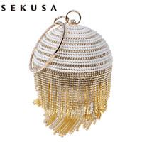 sac de soirée perlé rouge achat en gros de-Sekusa Circular Design Beaded Women Evening Bags Strass Tassel Day Pochettes Bourse Argent / Or / Noir / Rouge / Bleu Sac De Soirée Q190429