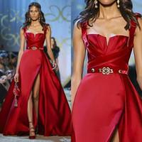 vestidos de alta costura azul venda por atacado-Elie Saab Haute Couture Red Vestidos Spaghetti Dividir vestido de baile vestidos de festa formal da ocasião especial Vestido Robe de soirée