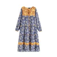 vestido de lazo recto al por mayor-Patrón floral de las mujeres Maxi vestido Bow Tie cuello manga larga recta femenina elegante vestidos largos Vestidos Qb357