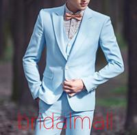Wholesale best tuxedo styles resale online - New One Button men s suit Light Blue Groomsmen Tuxedos Classic Style Best Man Suit Prom Blazer Bridegroom Tux Jacket Pants Vest Tie