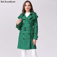 ingrosso trincea verde-2017 nuove donne trench stile di moda in pizzo verde manica piena cintura bottoni ricoperti slim trench outwear