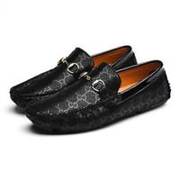 zapatillas casual hombre toptan satış-2019 Hakiki Deri Ayakkabı Erkekler Ekose Rahat Sürüş Loafer'lar Çiçek Zapatillas Hombre zapatos de adam Erkek Adam Ayakkabı 7782