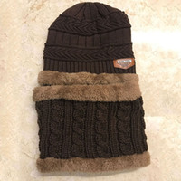 Wholesale baby scarf size for sale - Group buy Hot Sell Baby Kids Plush Hats Winter Warm Thickened Velvet Fleece Lining Knitted Hats with Scarf Average Size for Years