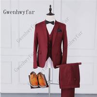 chaleco de boda tamaño estándar al por mayor-Rojo Trajes nuevos para hombre 2019 Clásico 3 piezas de traje Trajes de alta calidad para hombres delgados Boda de negocios Tamaño estándar más talla (chaqueta + chaleco + pantalones)