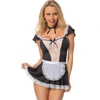 Wholesale underwear maid resale online - BNC Lenceria Sexy Maid Uniform Erotic Costumes Women Sexy Lingerie Hot Baby Doll Erotic White Lace Porn Sex Women s Underwear