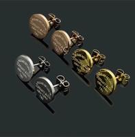 ingrosso fascino di rosa dell'oro-Alta qualità deluxe brand Design 925 sterling silver rose gold round lettera star charm orecchini per le donne uomini gioielli New York