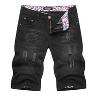 süngerimsi kot pantolon toptan satış-Yeni Stil Yaz Denim Şort Mens Siyah Beş Nokta Pantolon Avrupa Ve Amerikan Baggy Yırtık Kot