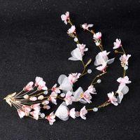 ingrosso ornamenti di cristalli-Accessori matrimonio romantico cinese tradizionale fiore di pesco Tiara cristalli strass ornamenti floreali gioielli capelli donna XH