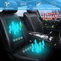 rote kühlkissen großhandel-8/4 Eingebauter Lüfter 3D 12V Kühlung Autositzkissenbezug Luftbelüfteter Lüfter Klimatisierter Kühler Pad 3 Geschwindigkeiten Autositzkissenbezug
