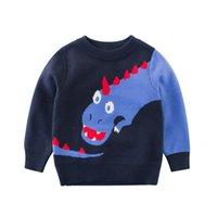 outono camisola dinossauro venda por atacado-Meninos Dinossauro Camisola de Malha para o Outono Inverno Criança Menino Pullover Roupas Cardigan