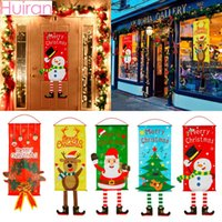 Wholesale hanging santa flags for sale - Group buy Christmas Snowman Elk Santa Claus Cloth Hanging Flag Merry Christmas Decorations For Home Xmas Ornaments Banners