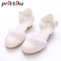 Wholesale cow girls dress for sale - Group buy Toddler Girl Pu Leather Silk Sandal Little Kids Pageant Bridesmaid Wedding Flats Big Child Heeled Mary Jane Princess Dress Shoes