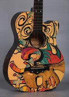 Wholesale musical folk instruments for sale - Group buy factory inch folk guitar color map personality acoustic guitar beginners entry practice piano student musical instrument