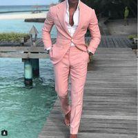 hombre esmoquin un botón al por mayor-Chic Pink One Button para hombre trajes de baile con muesca solapa Padrino de boda Tuxedos para hombre Blazers de dos piezas traje formal chaqueta + pantalones