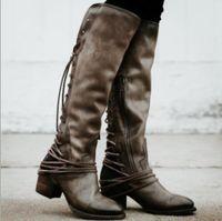 joelho alto amarrar botas venda por atacado-Sapato feminino mulheres botas de alta joelho do vintage PU sapatos de couro mulher cross-amarrado lace up gladiador botas meninas chaussure