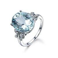 anéis de zircônio mulheres venda por atacado-Moda Europeia Banhado A Ouro Branco Anel de Pedras Preciosas De Zircônio Declaração de Casamento Anéis de Casamento Mar Azul Cor Zircão Anel de Borboleta