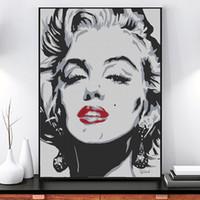 imagens de marilyn wall venda por atacado-Personagem clássico Marilyn Monroe Pintura Da Lona Beleza Sexy Arte Da Parede Fotos Impresso Cartazes de Sala de estar Decoração de Casa