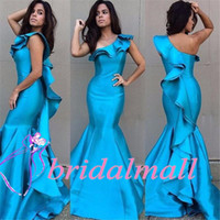 Wholesale sexy purple celebrity mermaid dress online - Blue Satin Mermaid Prom Dresses Vestido de fiesta Tiered Skirts African Pageant Party Gowns Ruffle Back Gala Evening Dress Celebrity
