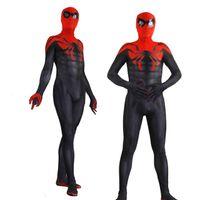 superheld-kostümmuster groihandel-Spiderman Superior Spider Man Erwachsene Cosplay Zentai Superhero Muster Männer 3D Bodysuit Anzug Overalls Cosplay Kostüm
