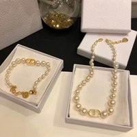 Wholesale beaded necklaces for sale - Group buy Best selling classic letter pearl wild fashion designer jewelry set womens pearl designer necklace