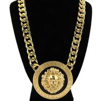 ingrosso oro corta collana-Retro collana di testa di leone in lega di hiphop vintage breve stile ciondolo a forma di testa di leone ciondolo di hip-hop collana di gioielli in argento placcato oro