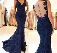 Wholesale neck covering prom dresses for sale - Group buy 2019 Sexy Lace Mermaid Evening Dresses Deep V Neck Illusion Cover Buttons Sweep Train Illusion Formal Party Prom Gown Hot Vestidos De Fiesta