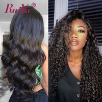 Wholesale malaysian deep wave human lace front resale online - 360 Full Lace Frontal Wigs Body Wave Human Hair Lace Front Wigs Kinky Yaki Straight Brazilian Hair Water Deep Wave Kinky Curly Wigs