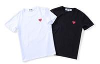 hommes rouges t shirts achat en gros de-Mode mens tshirt nouveau designer t-shirt européenne américaine populaire petit coeur rouge impression t-shirt hommes femmes couples luxe t-shirt S-XXL
