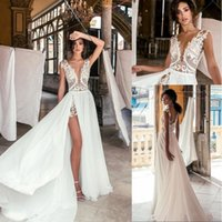 Wholesale sheath beach wedding dresses slit for sale - Group buy 2019 Sexy Lace Bohemian Beach Wedding Dresses Bridal Gowns Top Lace leeveless Chiffon Sheath Cheap vestidos de novia High Slit BC0277