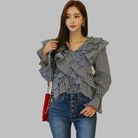 ingrosso camicetta nera di modo coreana-HAMALIEL Coreano moda Ruffles camicia Blusas Top Estate delle donne nero bianco Plaid Flare Sleeve Blouse Vintage Lace Up Clothes