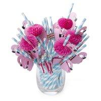 palha branca rosa venda por atacado-Flamingo Beber Palhas De Papel para Bebidas, Sucos, Smoothies, Shakes, Fontes do partido rosa azul branco 500 pçs / lote frete grátis