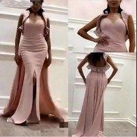 tela de raso coral al por mayor-Elegantes vestidos de noche de sirena de satén rosa con Belore 2019 Bling Bling Fabric Wrap Dubai Vestidos árabes Ocasión Vestido de fiesta de graduación