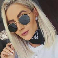 marcos de gafas de color de los hombres al por mayor-Gafas de sol de marco de metal de gran tamaño para hombres, mujeres, moda, gafas de sol poligonales, estilo de moda, estilo retro, retro, coloreado, espejeado de gafas.