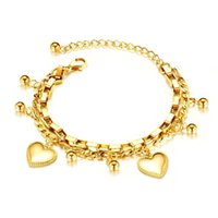 Wholesale color beads bracelet for sale - Group buy Fashionable temperament multi layered love round beads ladies bracelet luxury gold color stainless steel love heart bracelet