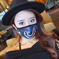 masks al por mayor-Media cara Máscara de tiburón en la boca Hip Hop Moda Colorido Camuflaje Earloop Elástico Anti-Polvo Mufla Creativa Máscara de dibujos animados en la boca DLH264