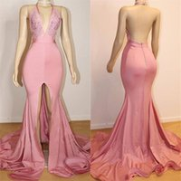 Wholesale open silk prom dresses resale online - Cheap Slit Split Pink Prom Dresses V Neck Sexy Open Back Sweep Train Custom Made Formal Prom Gowns Special Occasion Wear