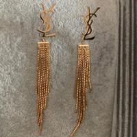 aretes de plata rosa al por mayor-Fábrica al por mayor de lujo marca de joyería de acero inoxidable oro plata rosa chapado en oro borla larga Stud pendientes para hombres mujeres al por mayor