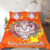 edredão azul laranja venda por atacado-Elephant cama Set Laranja floral azul capa de edredão Pillowcase gêmeo completa Rainha King Size Deus Home Textiles Mandala Lotus Roupa de cama