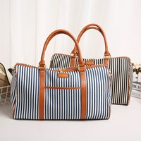 1209c9d0f7c7 women large travel duffle canvas bags for female blue shoulder column style ladies  large capacity striped travelling totes YI417