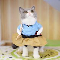 ternos partido engraçado venda por atacado-New Funny Cat Dog Costume Uniforme Terno Roupas de Filhote de Cachorro Traje Do Traje Vestir Terno Partido Roupas Para Cosplay