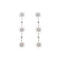 ingrosso orecchini di moda abbaglianti-2019 Nuovo arrivato Dazzling Sparking stella northstar starburst fascino ciondolante orecchini pendenti cz moda donna gioielli lunghi orecchini