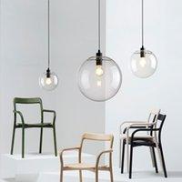 runde lichtkugel großhandel-LED Globe Glaskugel Pendelleuchte Runde Hängelampe Lustre Suspension Küche Leuchte Beleuchtung Leuchte Lampen Leuchte
