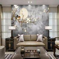 chinesische farbe stifte großhandel-Stift der chinesischen Art 3d und Blumenvogel handgemalte Blume und Vogel Fernsehhintergrundwand Schlafzimmerwohnzimmerportaltapetenwandgemälde