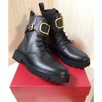 Wholesale combat boots womens resale online - Women Winter calfskin leather combat boot Womens Martin Ankle high panelled buffed leather boots in black come with Box