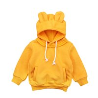 c1b7c767ef1cbf New Fashion Autunno Inverno Con cappuccio Toddler Kid Baby Boy Girl Animal  Top Cappotto Giallo Nero Felpa Pantaloni Outfit
