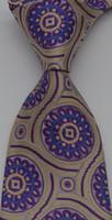geometrische marken krawatten großhandel-Brand New Classic Geometric Gelb Lila JACQUARD GEWEBTE Seidenkrawatte der Männer GZ38823