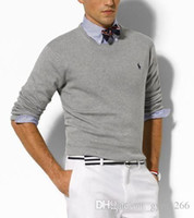 Wholesale best computer brands online - Best selling new sweater fashion brand pony polo shirt sweater men s cotton casual jacket knit sweater high quality pullover